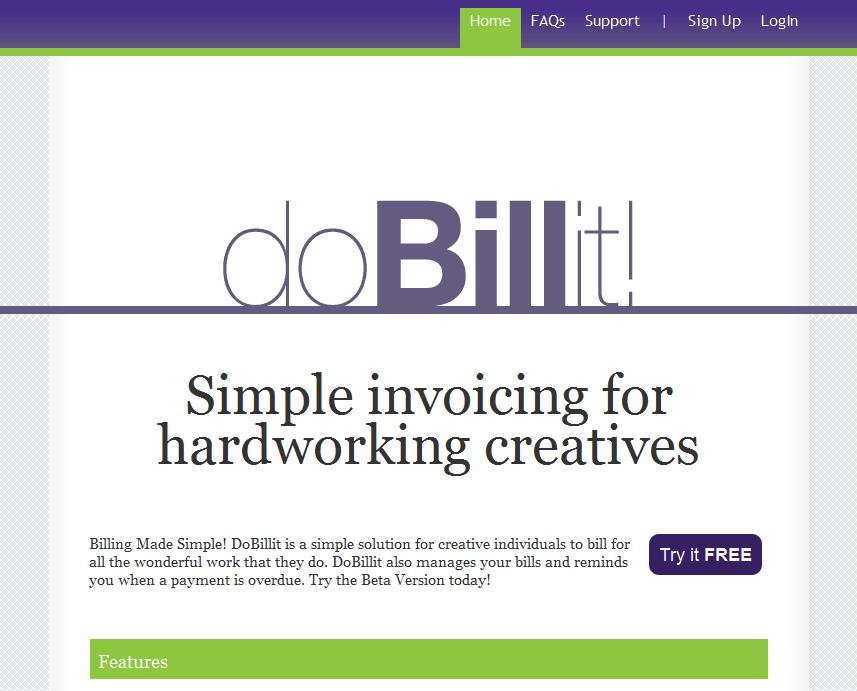 DoBillIt upper home page